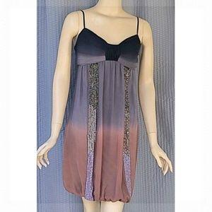Sue Wong Ombre Sequin Silk Balloon Hem Dress 4 S